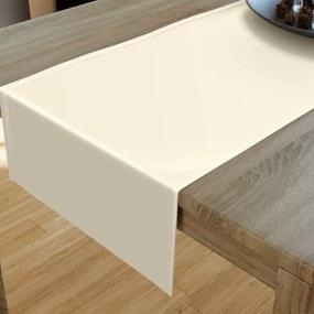 Goldea luxusný saténový lesklý behúň na stôl - vanilkový 20x120 cm