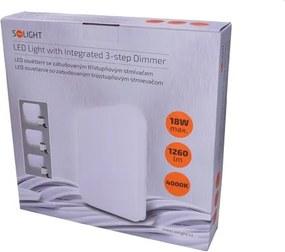 Solight Solight LED stropné svietidlo, 3-stupňové stmievanie, 18W, 1260lm, 4000K, štvorcové, 33cm