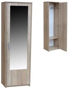 Predsieňová šatníková skriňa s úložným priestorom a zrkadlom 55 cm Javor