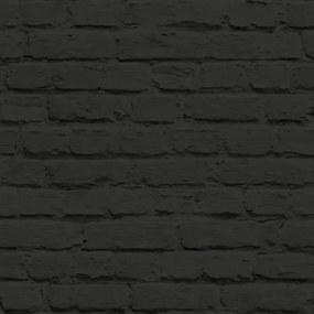 Vliesové tapety na stenu Just Like It tehla čierna a nátěrom J66519, rozmer 10,05 m x 0,53 m, UGEPA
