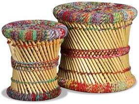 vidaXL 2-dielna súprava stoličiek s chindi detailmi, bambusová, viacfarebná
