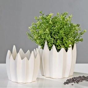 Kvetináč keramický Zack, 15 cm biela, biela