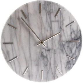 Nástenné hodiny Mramor, 30 cm, biela