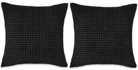 vidaXL Sada dekoratívnych vankúšov, 2 ks, velúr, 60x60cm, čierna