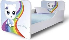 MAXMAX Detská posteľ MAČIČKA s dúhou + matrac ZADARMO