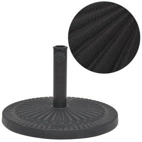 vidaXL Stojan na slnečník, živicový, okrúhly, čierny, 14 kg