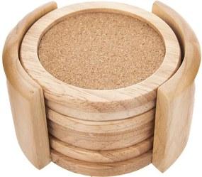 Orion Podtácok drevo/korok 6 ks v stojane