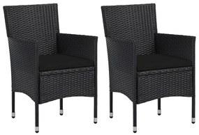 vidaXL Záhradné jedálenské stoličky 2 ks polyratanové čierne