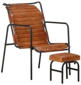 vidaXL Relaxačné kreslo s podnožkou hnedé pravá koža