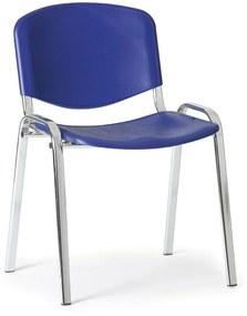 Plastová stolička ISO, modrá - konštrukcia chrómovaná