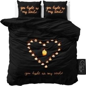 Čierne obliečky z mikroperkálu Sleeptime Love Candles, 160 x 200 cm