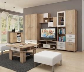 MEBLOCROSS Solo obývacia izba sonoma svetlá / biely lesk