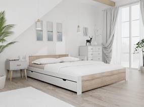 Posteľ IKAROS 140 x 200 cm, biela Rošt: Bez roštu, Matrac: Bez matrace