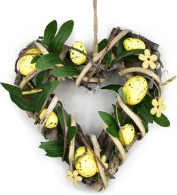 Ratanové srdce s vajíčkami Rosita žltá, 22 x 23 cm