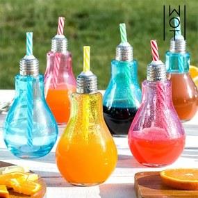 Farebné Poháre Žiarovka so Slamkami Wagon Trend 250 ml 6 kusov