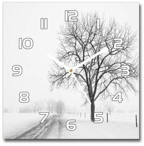 Sklenené nástenné hodiny štvorec Strom zima pl_zsk_30x30_f_80032038