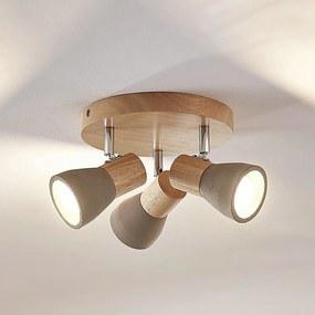 LED svetlo Filiz z dreva a betónu 3-plameň okrúhle