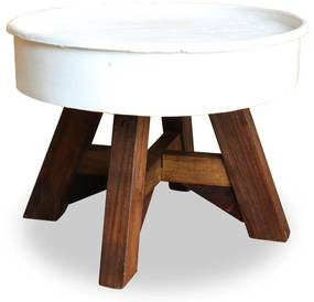 vidaXL Konferenčný stolík 60x45 cm biely masívne recyklované drevo