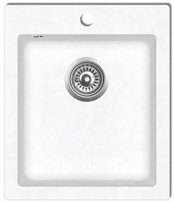 141674 vidaXL Granitové kuchynské umývadlo s vaničkou, krémovo biele