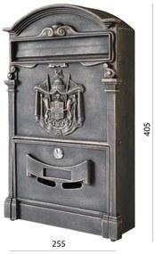 schránka poštová, 255x405x90mm, medená patina