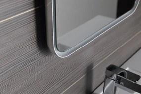 SAPHO - FLOAT zaoblené zrkadlo v ráme s LED osvetlením 500x700mm, biela (22571)