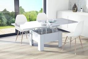 OSLO biely lesk, rozkladacia, zdvíhací konferenčný stôl, stolík, biely mechanizmus