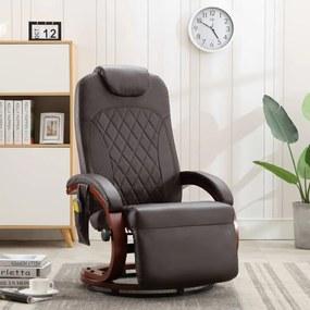 vidaXL Sklápacie masážne TV kreslo hnedé umelá koža