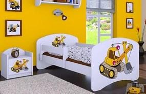 MAXMAX Detská posteľ bez šuplíku 140x70cm ŽLTÝ BAGR