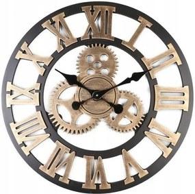Tutumi 3D nástěnné hodiny Oras 60 cm zlato-černé