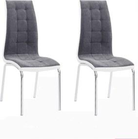 2 kusy, jedálenská stolička, tmavosivá/biela, GERDA NEW