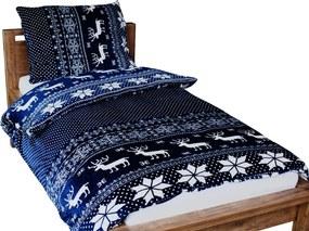 Homeville povlečení mikroplyš bílý norský vzor/tmavě modrá 140x200/70x90 cm