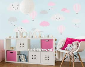 Dekorácia na stenu - mráčky a balóny - šedo-ružové
