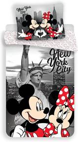 Jerry Fabrics Detské obliečky Mickey and Minnie in New York micro, 140 x 200 cm, 70 x 90 cm