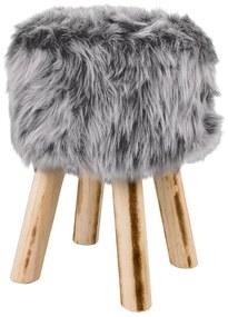 LIVARNOLIVING® Stolička s kožušinou (šedá) (100309118)