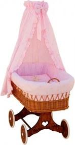 Proutěný koš na miminko s nebesy Méďa - růžová