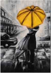 Ručne maľovaný obraz Žltý bozk v daždi 70x100cm RM2474A_1AB