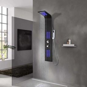 vidaXL Sprchový panel hliníkový 20x44x130 cm čierny