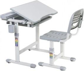 Fundesk Rastúci stôl CANTARE + stolička Farba: Sivá
