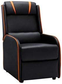 vidaXL Sklápacie kreslo, čierno oranžové, umelá koža