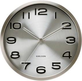 KARLSSON Nástenné hodiny Maxie strieborné
