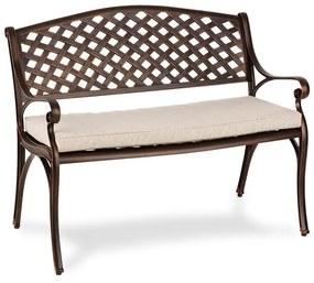 Pozzilli AN, záhradná lavička & podložka na sedenie, starožitná meď/béžová