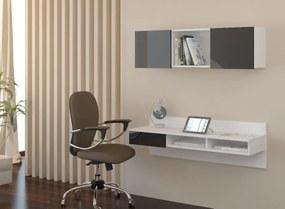 MEBLOCROSS Uno pc stolík na stenu s policou biela / čierna