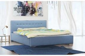 Čalúnené jednolôžko Ingrid s úložným priestorom modrá 140 x 200