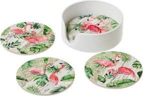 Sada 4 keramických podnosov Unimasa Flamingos