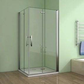Obdĺžnikový sprchovací kút MELODY R128, 120 × 80 cm so zalamovacími dverami vrátane sprchovej vaničky z liateho mramoru