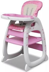 Vysoká detská skladacia jedálenská stolička 3 v 1, ružová