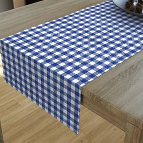 Goldea dekoračný behúň na stôl menorca - vzor modré a biele kocky 20x160 cm