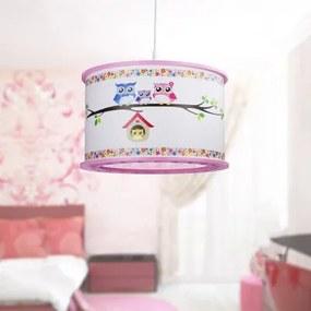 Elobra Owl family - pendant pink 131183