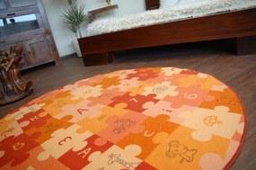 3kraft Detský guľatý koberec PUZZLE oranžový