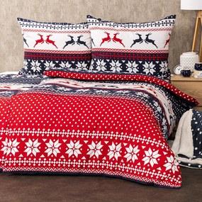 4Home Flanelové vianočné obliečky Blue Nordic, 140 x 200 cm, 70 x 90 cm + 50 x 70 cm